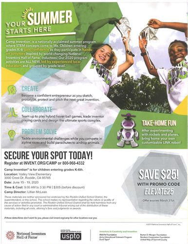 Camp Invention Flyer with Information